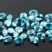 Blue Zircon Mixed Cut Gemstone 7x5mm Oval, $49